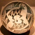 Mimbres native pottery bowl with opposing deer from southern New Mexico at de Young Museum. San Francisco, CA.