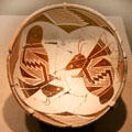Mimbres native pottery bowl with opposing insects from southern New Mexico at de Young Museum. San Francisco, CA.