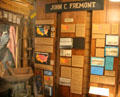 Display about John C. Fremont American explorer & resident of Mariposa at Mariposa Museum. Mariposa, CA.