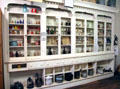 Antique pharmacy shelves & artifacts at Northern Mariposa County Museum. Coulterville, CA