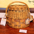 Basket which carried a jumping frog on United Air Lines at Angels Camp Museum. Angels Camp, CA.