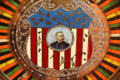 Image of Admiral Dewey on antique slot machine at Angels Camp Museum. Angels Camp, CA.