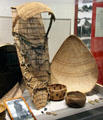 Miwok papoose carrier & baskets at Calaveras County Downtown Museum. San Andreas, CA.