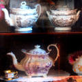 Collection of printed teapots & serving dish at Calaveras County Downtown Museum. San Andreas, CA.
