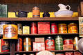 Shelves of typical canned goods in general store at El Dorado County Historical Museum. Placerville, CA.