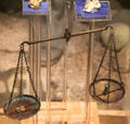 Balance scales used for weighing gold in museum at Marshall Gold Discovery SHP. Coloma, CA.