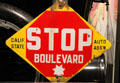 Early stop sign by Calif. State Auto Assn. at Oakland Museum of California. Oakland, CA.