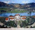 Broadmoor Hotel graphic after 1921 photo taken from airplane. Colorado Springs, CO.