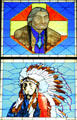 Chief Jack House & Buckskin Charlie stained-glass portraits in Old Supreme Court at Colorado State Capitol. Denver, CO.