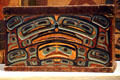 Tlingit wooden chest with lid with image of grizzly bear at Denver Art Museum. Denver, CO.
