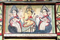 Santos art detail of Talpa Family Chapel altar screen by José Rafael Aragón at Colorado Springs Fine Arts Center. Colorado Springs, CO.