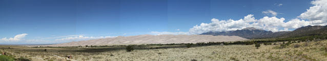 Panorama of Great Sand Dunes National Park. CO.