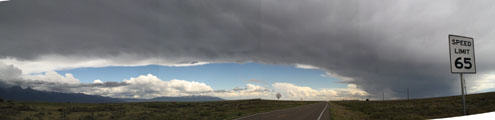 Panorama of Storm clouds over southeastern Colorado. CO.