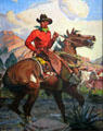 Painting of cowboy by A.R. Mitchell at Baca Adobe House. Trinidad, CO.