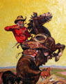 Driving Off Rustlers illustration for magazine cover by Arthur Roy Mitchell at A.R. Mitchell Museum of Western Art. Trinidad, CO.