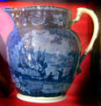 Earthenware commemorative pitcher showing George Washington's monument from Staffordshire, England at Connecticut Historical Society. Hartford, CT.