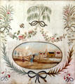 Embroidered picture of village with children playing at Oliver Ellsworth Homestead Museum. Windsor, CT.