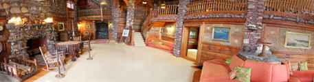 Panorama of living room at Gillette Castle State Park. East Haddam, CT.