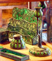 Green glass & brass desk set at Gillette Castle State Park. East Haddam, CT.