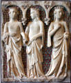 Marble & mosaic tomb relief of three princesses by Tino di Camaino of Siena in Yale Art Gallery. New Haven, CT.