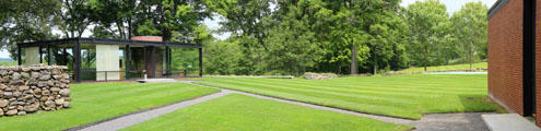 Panorama showing relation of Philip Johnson Glass & Brick Houses with paths between. New Canaan, CT.