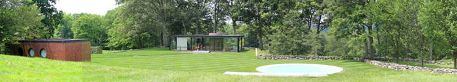 Panorama of Brick House, Glass House & pool at Philip Johnson Glass House. New Canaan, CT.