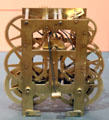 Brass clock movement by Waterbury Clock Co. at Mattatuck Museum. Waterbury, CT.