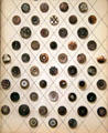 Antique buttons in Button Gallery at Mattatuck Museum. Waterbury, CT.