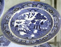 """Blue Willow"" plate by Buffalo Pottery Co. of Buffalo, NY at Judson House. Stratford, CT."