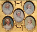 Miniature portraits of Harriet Wadsworth, Faith Trumbull, Mrs. Jonathan Trumbull, Sr., Catherine Wadsworth & Mary Julia Seymour by John Trumbull at Yale University Art Gallery. New Haven, CT.