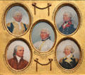 Miniature portraits of William Smallwood, Elnathan Haskell, Daniel Morgan, Egbert Benson, & Philip Schuyler by John Trumbull at Yale University Art Gallery. New Haven, CT.