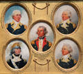 Miniature portraits of Nathanael Greene, William Hull, Ebenezer Stevens, Thomas Youngs Seymour, & John Brooks by John Trumbull at Yale University Art Gallery. New Haven, CT.