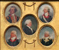 Miniature portraits of Otho Holland Williams, Thomas Pinckney, John Rutledge, Charles Cotesworth Pinckney, & William Moultrie by John Trumbull at Yale University Art Gallery. New Haven, CT.