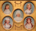 Miniature portraits of Eleanor Parke Custis, Cornelia Schuyler, Mrs. George Washington, Sophia Chew, & Harriet Chew by John Trumbull at Yale University Art Gallery. New Haven, CT.