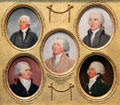 Miniature portraits of Henry Laurens, John Jay, John Adams, George Hammond, & William Temple Franklin by John Trumbull done in preparation for his Treaty of Paris painting at Yale University Art Gallery. New Haven, CT.