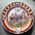 White china commemorative plate with image of landing of Columbus at Knights of Columbus Museum. New Haven, CT.