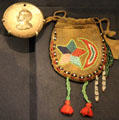 Zachary Taylor peace medal with beaded leather pouch at National Museum of the American Indian. Washington, DC.