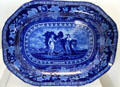 Blue flow plate with seal of New Jersey by English potter Thomas Mayer at National Museum of American History. Washington, DC.