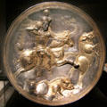 Silver & gold Sasanian plate with horseman hunting boars from Iran at Smithsonian Arthur M. Sackler Gallery. Washington, DC.