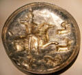 Silver & gold Sasanian plate with horseman hunting wild goats from Iran at Smithsonian Arthur M. Sackler Gallery. Washington, DC.