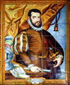 Tile mural of Don Pedro Menendez de-Aviles who founded St. Augustine on Sept. 8, 1565 in museum of The Oldest House. St Augustine, FL.
