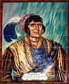 Tile mural of Seminole guerrilla leader Osceola arrested under a flag of truce in 1838 in museum of The Oldest House. St Augustine, FL.
