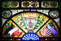 Stained glass window from Chicago Turngemeinde German-American athletic club at Lightner Museum. St Augustine, FL.