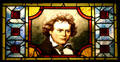 American painted stained glass window with Beethoven at Lightner Museum. St Augustine, FL.