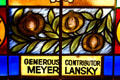 Stained-glass window contributed by gangster Meyer Lansky to Synagogue which is now Jewish Museum of Florida. Miami Beach, FL.