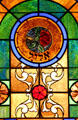 Virgo stained-glass Zodiac window in Jewish Museum of Florida. Miami Beach, FL.