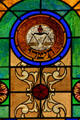 Libra stained-glass Zodiac window in Jewish Museum of Florida. Miami Beach, FL.