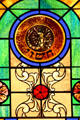 Scorpio stained-glass Zodiac window in Jewish Museum of Florida. Miami Beach, FL.