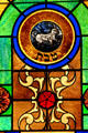 Capricorn stained-glass Zodiac window in Jewish Museum of Florida. Miami Beach, FL.