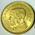 Thomas Alva Edison portrait medal for Electrical Exposition & Motor Show of New York by C.G. Braxmar. Fort Myers, FL